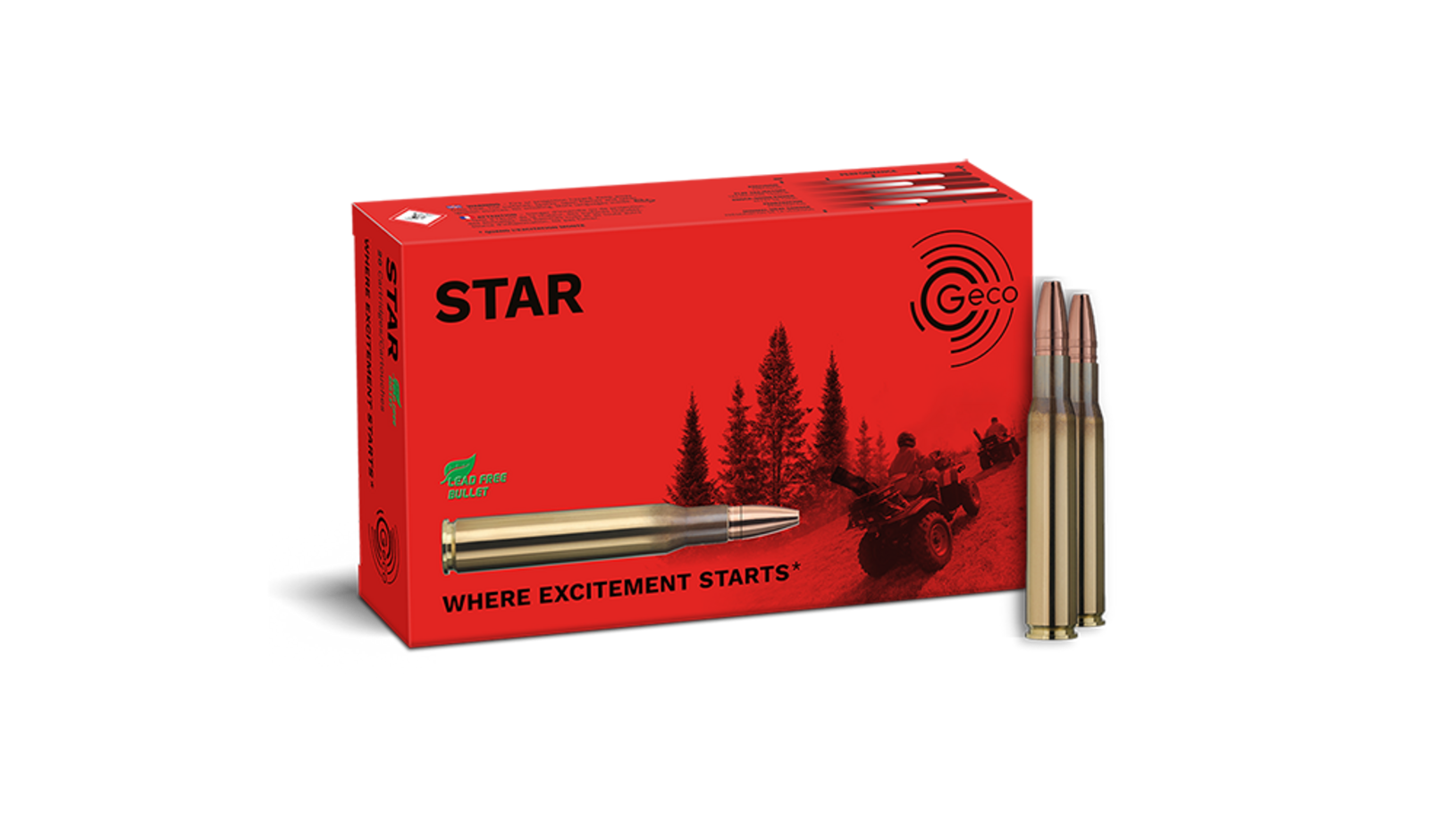 Frontview of ammunition and packaging of GECO .30-06 STAR 10,7g