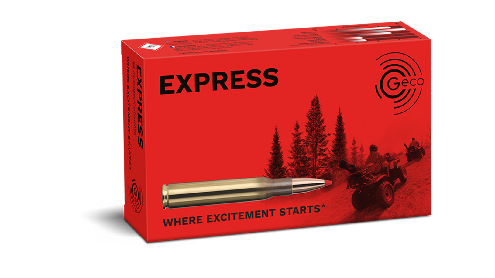 Frontview of packaging of GECO 7mm Rem. Mag. Express 10,0g