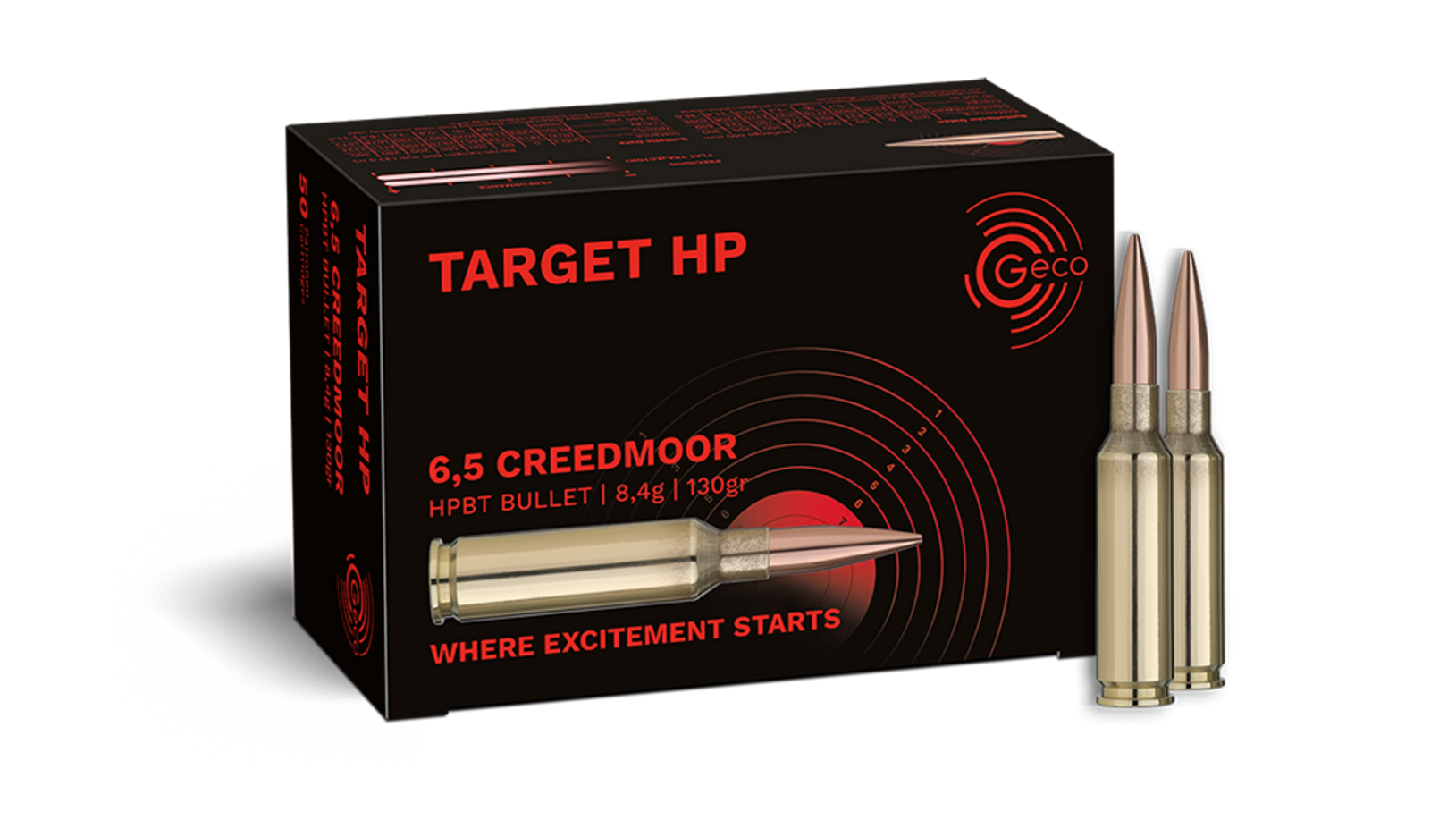 Frontview of ammunition and packaging of GECO 6,5 Creedmoor TARGET HP 8,4g