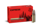 Frontview of ammunition and packaging of GECO 9,3x62 EXPRESS 16,5g