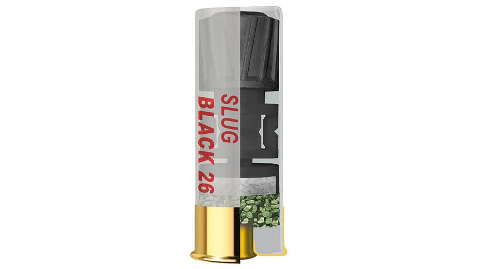 Frontview of ammunition of GECO Coated Competition Slug Black 26 12/67,5