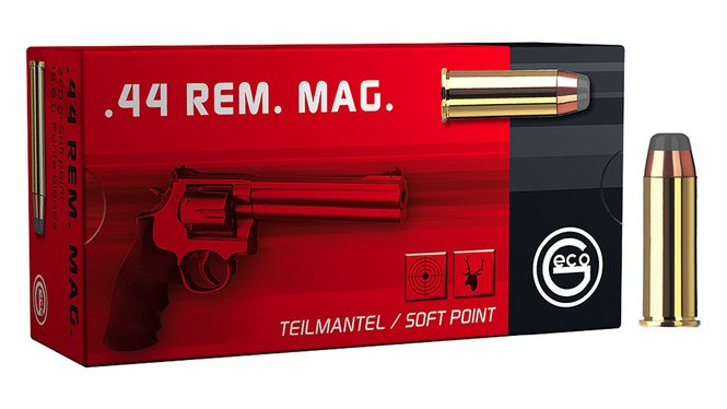 Frontview of ammunition and packaging of GECO .44 Rem. Mag. Softpoint 15,6g