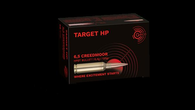 Frontview of packaging of GECO 6,5 Creedmoor TARGET HP 8,4g