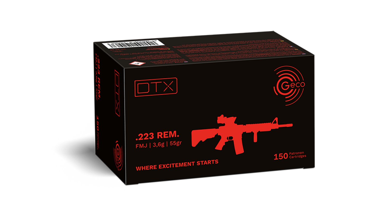 Frontview of packaging of GECO .223 Rem. DTX 3,6g