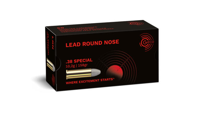 Frontview of ammunition and packaging of GECO .38 Special Lead Round Nose 10,2g