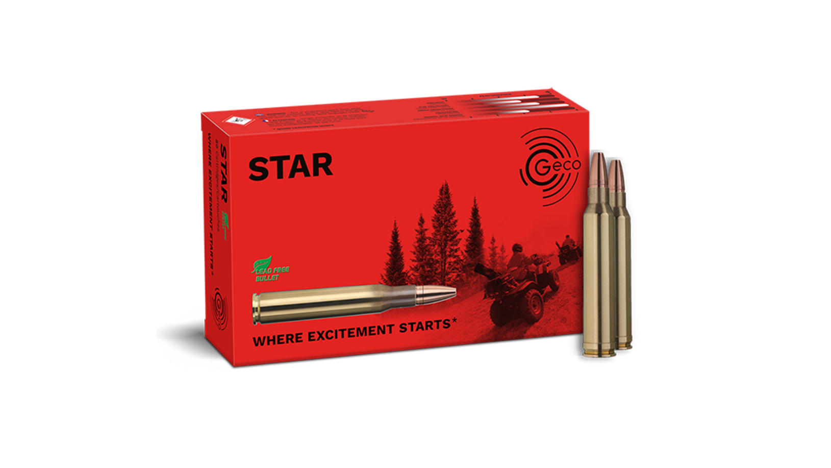 Frontview of ammunition and packaging of GECO .300 Win. Mag. STAR 10,7g
