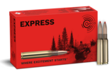 Frontview of ammunition and packaging of GECO 6,5x55 SE EXPRESS 9,1g
