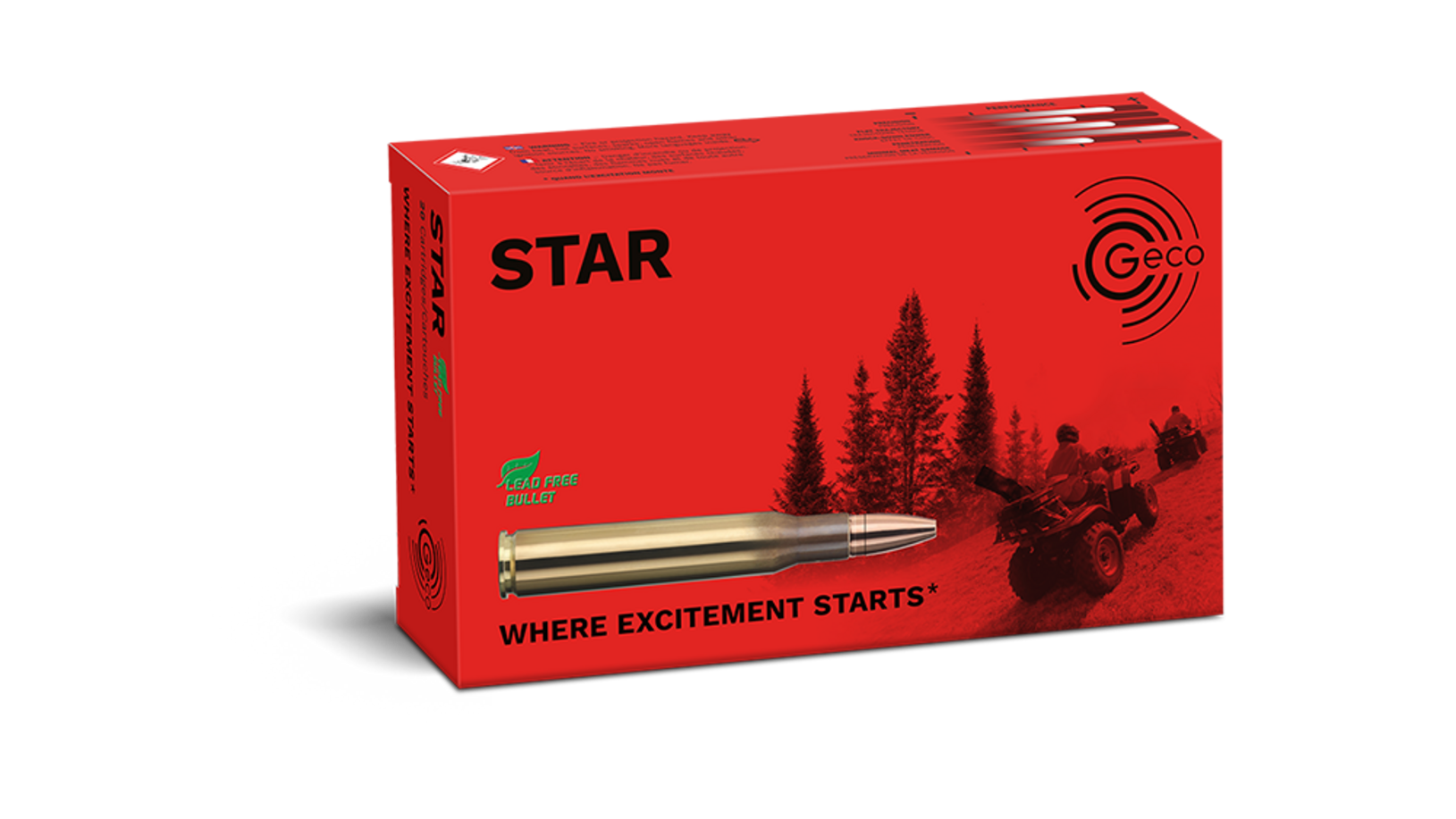 Frontview of packaging of GECO .30-06 STAR 10,7g