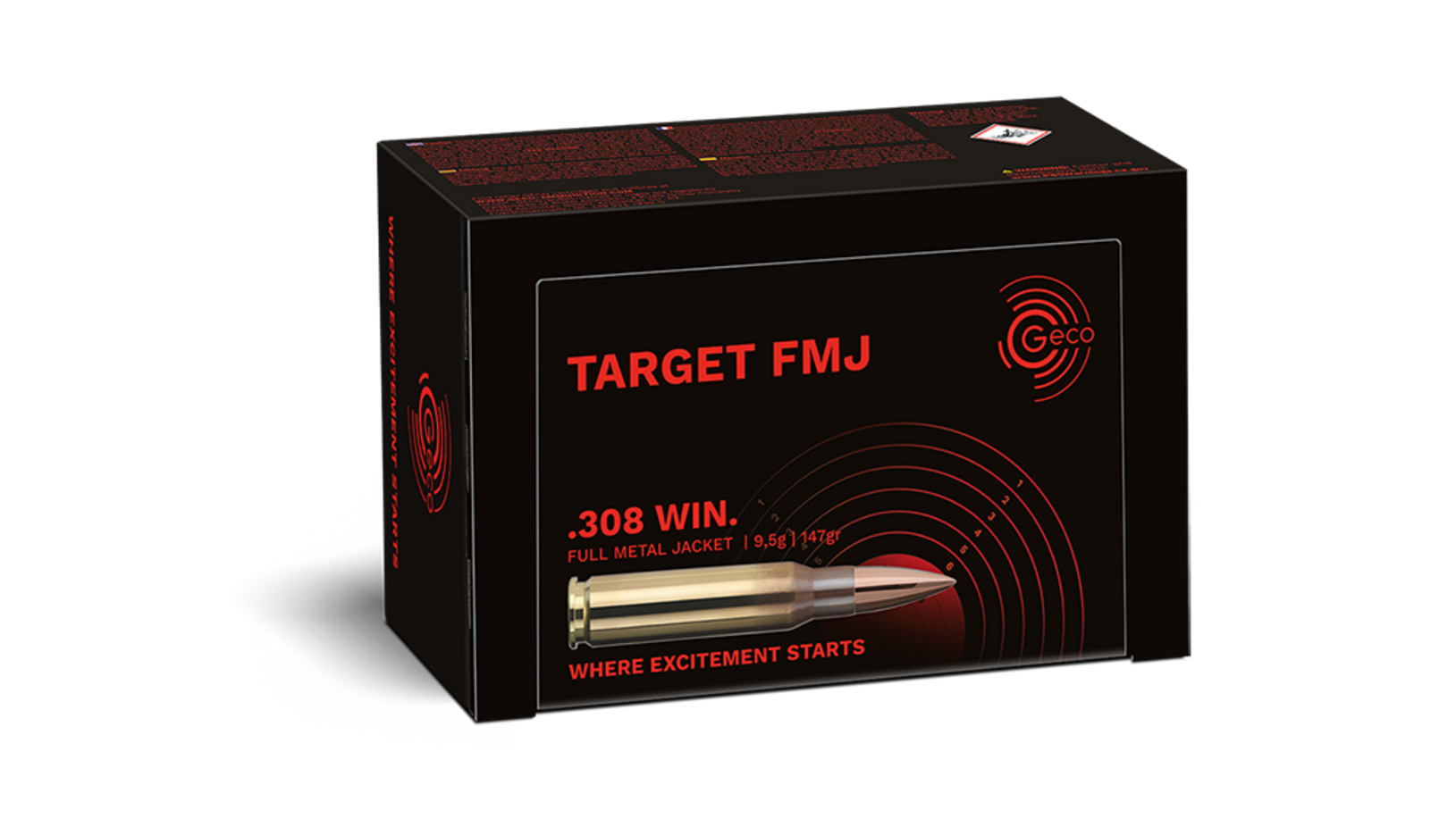 Image of the GECO TARGET FMJ ammunition packaging